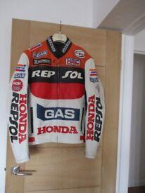 White leather Repsol Motorbike Jacket