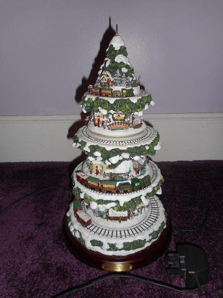 Thomas Kinkade Christmas Tree With Lights And Music Moving Trains