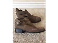 Top shop brown suede buckle ankle boots size 4