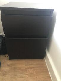 IKEA black bedside table, 2 drawers