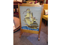 Very Nice Antique Edwardian Oak Framed Fire Screen/Guard & Tapestry Stitched Old Sail Boat