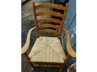 Wicker seated ladder backed chairs