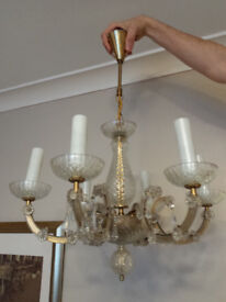 Vintage Chandelier with real glass Crystals