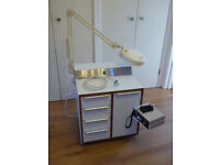 podiatry work station including drill and lamp, and 2 podiaclave sterilisers for sale (1 new)