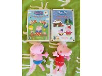 Peppa Pig dvds and two Peppa Pig Zoggs swimming toys