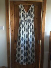 Laura Ashley dress. Beautiful long dress with black or dark navy print.
