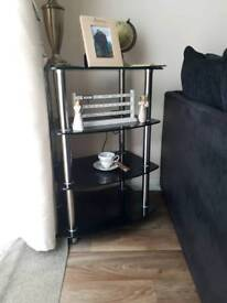 Black glass side table/ stand