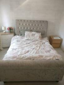 Velvet Crushed Double Bed with Footboard