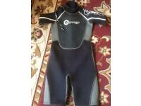 2 wetsuits and 2 wet shorts