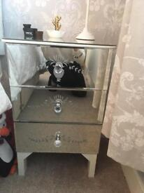 X2 Mirrored 3 draw bedside tables