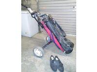 Set of wilson sam snead golf clubs, bag and trolley