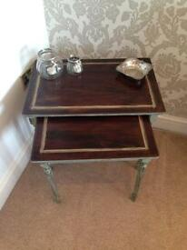 Antique Shabby Chic Nest of Two Side Tables