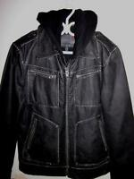 MENS GUESS HOODY BOMBER LEATHER JACKET SIZE MEDIUM