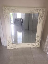 Cream ornate mirror