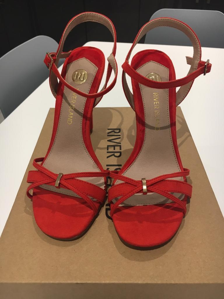 Red strappy high sandal
