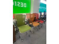 Mobile Folding Mesh Office / Meeting Chair 3 Different Colours