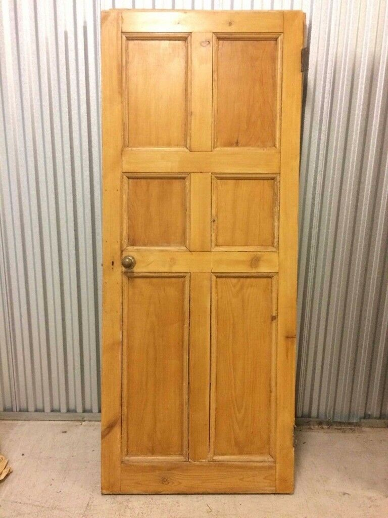 External Antique Victorian Pine Front Door Original In Crouch