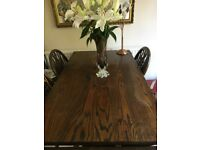 Solid Oak Dining Table And 5 X Chairs