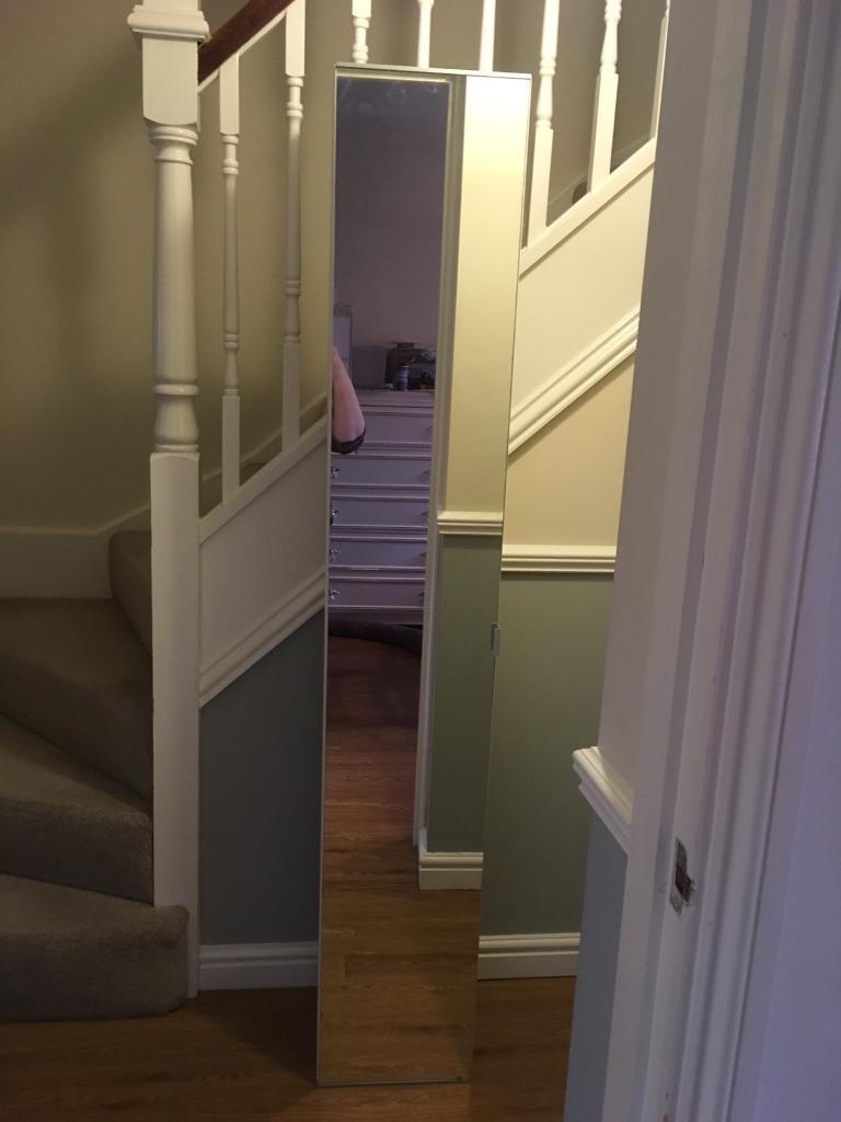 Bathroom Tall Mirrored Shelving Unit