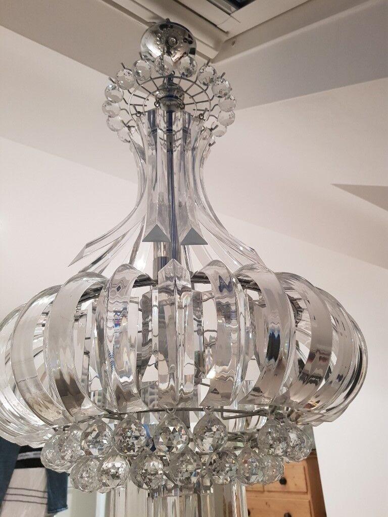 Modern large crystal acrylic chandelier in barnes london gumtree