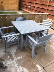 Gray garden furniture