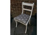 Stunning Regency Style Chair Painted in Antique White or Flint Grey & in fabric of your choice