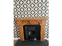 Wooden Fireplace cast iron and tiled insert, fire front inc