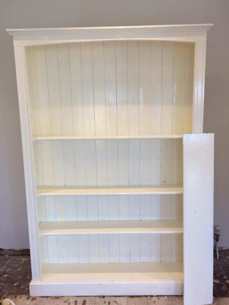 Large Painted White Pine Bookcase