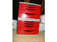 2x red units of storage plastic office yearn tree