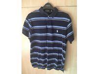 Ralph Lauren Navy, Blue and White Stripy Polo Shirt - Medium