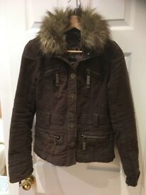 River Island size 10 brown suede Biker jacket with faux fur removable collar, immaculate condition