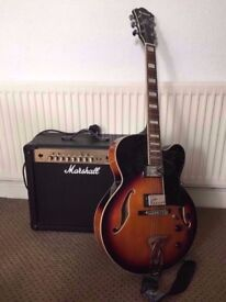 Ibanez Artcore AF75 Hollow Body Guitar + Marshall Amplifier MG30FX