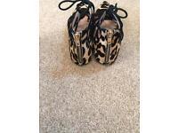 OFFICE leopard print lace front shoes