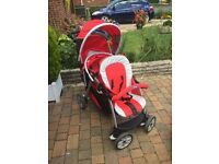 red chicco double buggy