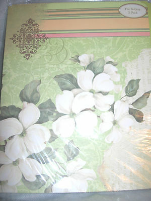 6 Green Flower File Folders Nip Dogwood Peach Pink Ivory Folder Fancy Decorated
