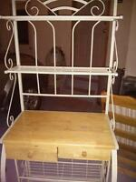 Bakers rack with wooden top