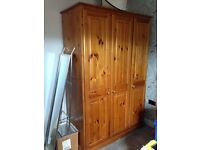 Cotswold Collection Honey Pine. Triple Wardrobe with detachable Top Box and Dressing Table