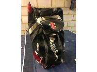 Junior cricket bag and equipment; helmet,bat,gloves,pads and box