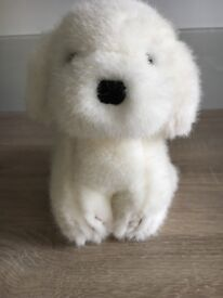 Cuddly toy, white small dog, Hartung, Berlin, beautiful condition, washable.