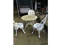 Victorian style table/balcony & 3 chairs
