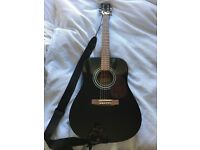 Encore Acoustic Guitar with Stagg Hardshell Case