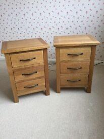 Oak Bedside Tables made by Dunelm