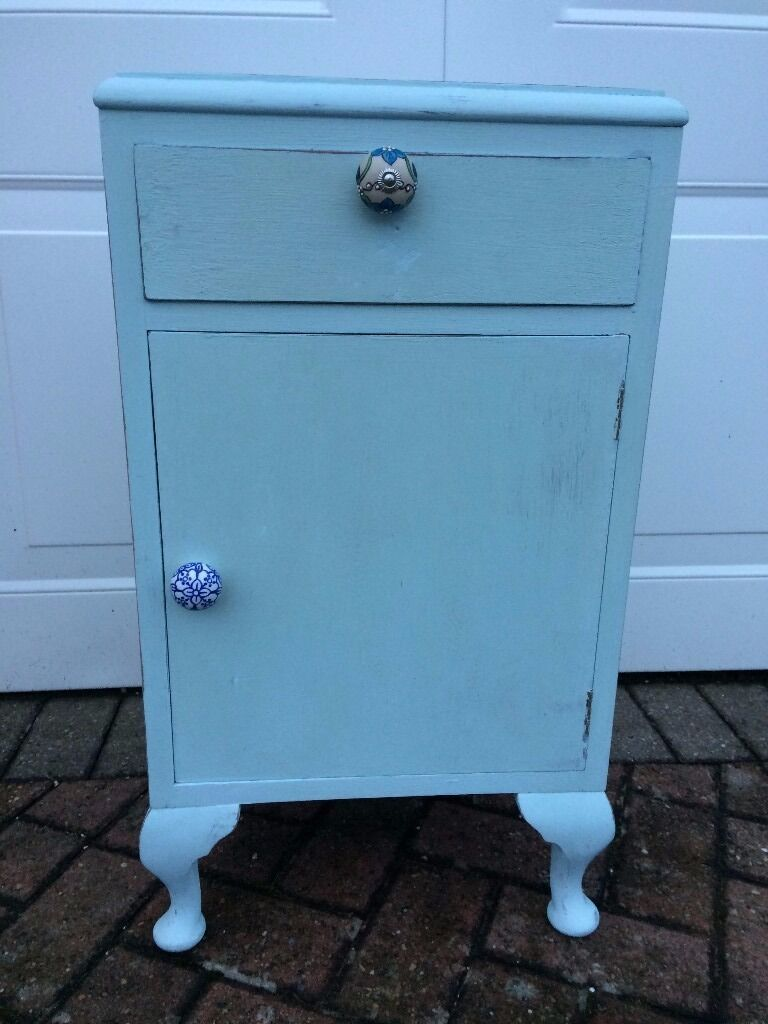 duck egg blue shabby. Bedside Cabinet Upcycled In Duck Egg Blue Chalk Paint Shabby Chic