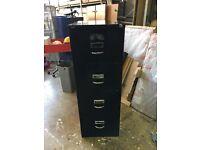 4 draw black filing cabinet key works