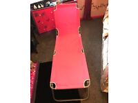 Pink Vintage 70s Style Sun Lounger