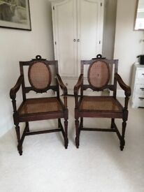 Late Edwardian Cherrywood Cane Backed Carver Chairs