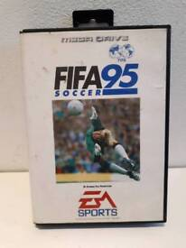 Fifa 95 soccer Sega Mega Drive game in box with booklet. Good condition.