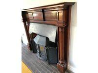 Large wooden fire surround/mantelpiece