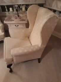 Pair wing back chairs