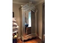 Shabby Chic Tiffany French Silver Boudoir Chateau Mirrored Double Armoire Wardrobe RRP £1650
